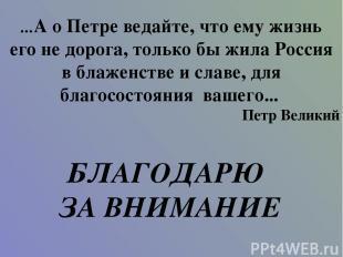 ...А о Петре ведайте, что ему жизнь его не дорога, только бы жила Россия в блаже