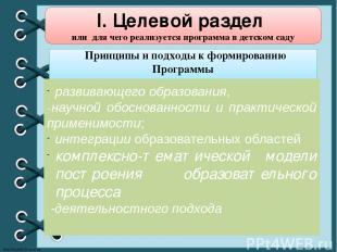 I. Целевой раздел или для чего реализуется программа в детском саду Принципы и п