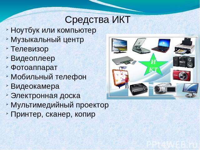 Средства ИКТ Ноутбук или компьютер Музыкальный центр Телевизор Видеоплеер Фотоаппарат Мобильный телефон Видеокамера Электронная доска Мультимедийный проектор Принтер, сканер, копир