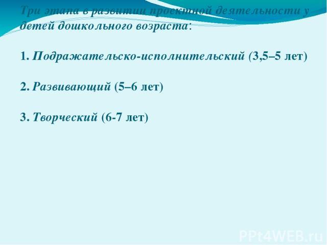 Три этапа в развитии проектной деятельности у детей дошкольного возраста: 1. Подражательско-исполнительский (3,5–5 лет) 2. Развивающий (5–6 лет) 3. Творческий (6-7 лет)