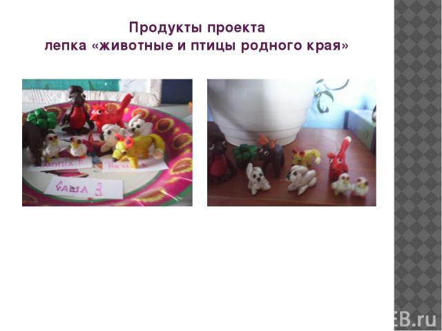 Продукты проекта лепка «животные и птицы родного края»