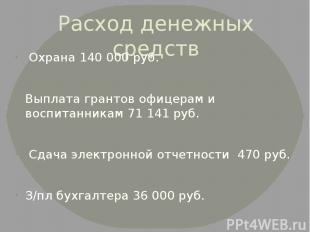 Расход денежных средств Охрана 140 000 руб. Выплата грантов офицерам и воспитанн