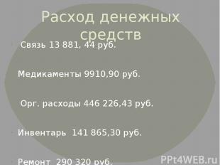 Расход денежных средств Связь 13 881, 44 руб. Медикаменты 9910,90 руб. Орг. расх