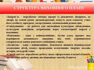 СТРУКТУРА ВИХОВНОГО ПЛАНУ «Здоров`я» - передбачає спільну працю із дільничою лік
