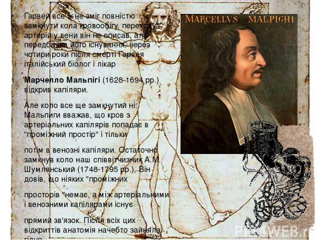 Гарвей все ж не зміг повністю замкнути кола кровообігу, переходу артерій у вени він не описав, але передбачив його існування. через чотири роки після смерті Гарвея італійський біолог і лікар Марчелло Мальпігі (1628-1694 рр.) відкрив капіляри. Але ко…
