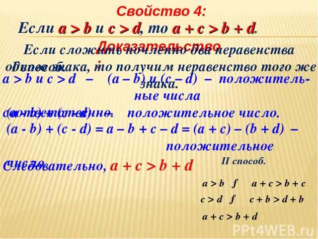 Свойство 4: Доказательство: I способ. а > b и c > d – (a – b) и (c – d) – положитель- ные числа соответственно. (a - b) + (c - d) – положительное число. (a - b) + (c - d) = а – b + с – d = (а + с) – (b + d) – положительное число Следовательно, а + с…