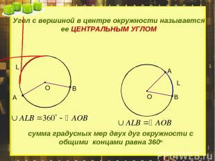 Угол с вершиной в центре окружности называется ее ЦЕНТРАЛЬНЫМ УГЛОМ А В А В L су