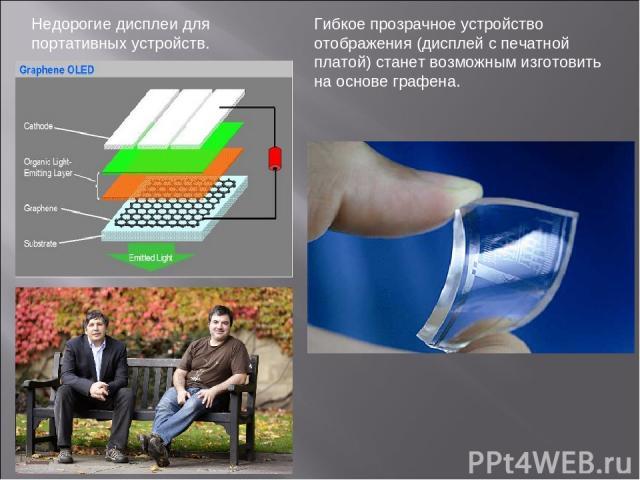 Недорогие дисплеи для портативных устройств. Гибкое прозрачное устройство отображения (дисплей с печатной платой) станет возможным изготовить на основе графена.