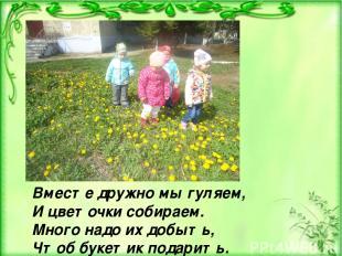 Вместе дружно мы гуляем, И цветочки собираем. Много надо их добыть, Чтоб букетик