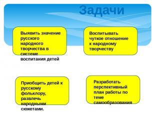Задачи Выявить значение русского народного творчества в системе воспитания детей
