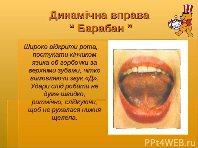 """Динамічна вправа """" Барабан """" Широко відкрити рота, постукати кінчиком язика об горбочки за верхніми зубами, чітко вимовляючи звук «Д». Удари слід робити не дуже швидко, ритмічно, слідкуючи, щоб не рухалася нижня щелепа."""