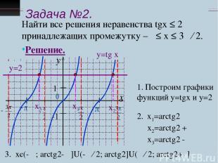 Задача №2. Найти все решения неравенства tgx ≤ 2 принадлежащих промежутку –π ≤ х