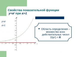 Свойства показательной функции у=аx при а>1 Область определения – множество всех