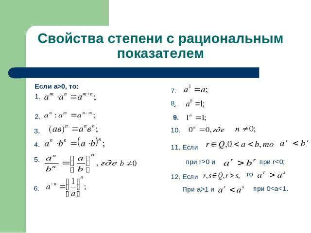Свойства степени с рациональным показателем Если а>0, то: 1. 2. . 3. 4. 5. 6. 7. 8. 10. 11. Если при r>0 и при r1 и при 0