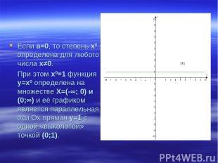 Если а=0, то степень х0 определена для любого числа х≠0. При этом х0=1 функция у
