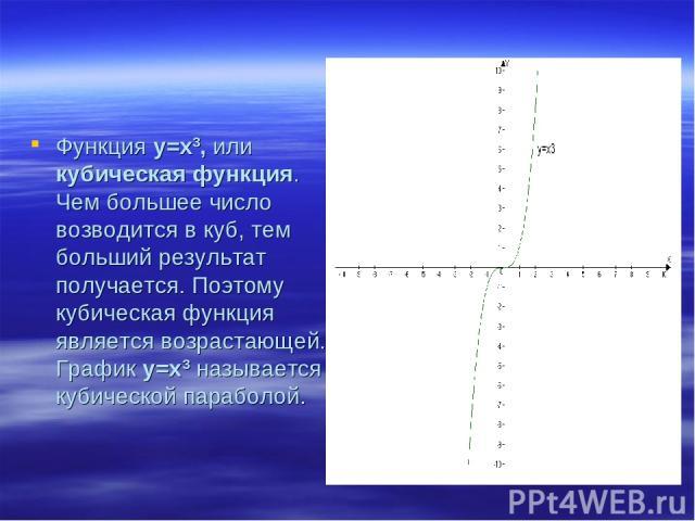 Функция у=х3, или кубическая функция. Чем большее число возводится в куб, тем больший результат получается. Поэтому кубическая функция является возрастающей. График у=х3 называется кубической параболой.