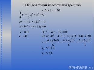 3. Найдем точки пересечения графика с Ох (у = 0):