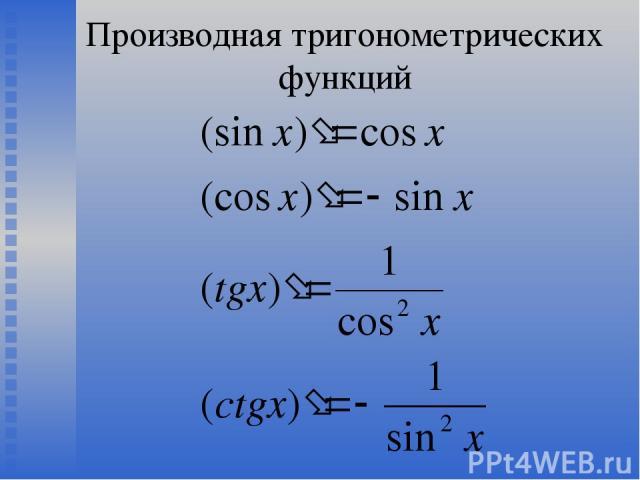 Производная тригонометрических функций