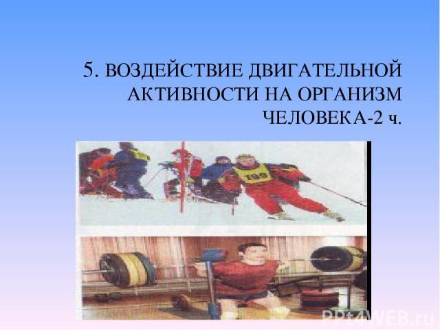 5. ВОЗДЕЙСТВИЕ ДВИГАТЕЛЬНОЙ АКТИВНОСТИ НА ОРГАНИЗМ ЧЕЛОВЕКА-2 ч. Двигательная активность. Гиподинамия у детей и взрослых. Активный образ жизни. Основные категории упражнений: аэробные, силовые, растяжки