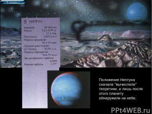 """Положение Нептуна сначала """"вычислили"""" теоретики, и лишь после этого планету обна"""
