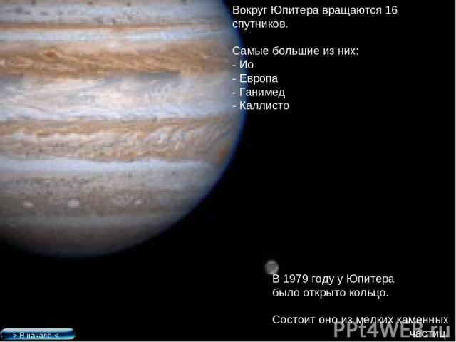 Вокруг Юпитера вращаются 16 спутников. Самые большие из них: - Ио - Европа - Ганимед - Каллисто В 1979 году у Юпитера было открыто кольцо. Состоит оно из мелких каменных частиц. > В начало