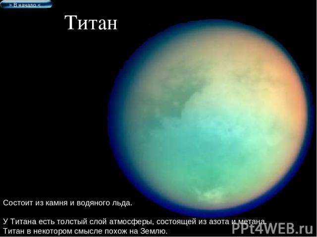 Титан Состоит из камня и водяного льда. У Титана есть толстый слой атмосферы, состоящей из азота и метана. Титан в некотором смысле похож на Землю. > В начало