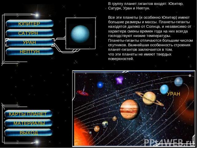 ЮПИТЕР САТУРН УРАН НЕПТУН УРАН УРАН В группу планет гигантов входят: Юпитер, Сатурн, Уран и Нептун. Все эти планеты (и особенно Юпитер) имеют большие размеры и массы. Планеты-гиганты находятся далеко от Солнца, и независимо от характера смены времен…
