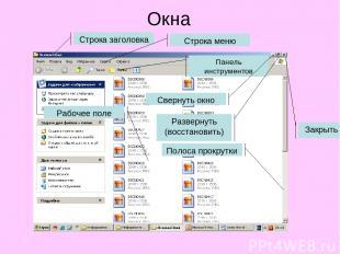 Окна Строка заголовка Строка меню Панель инструментов Рабочее поле Полоса прокру