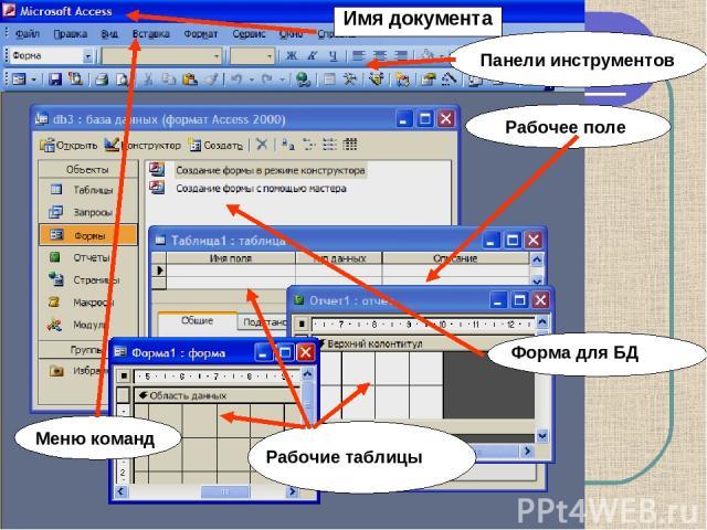 Имя документа Рабочее поле Меню команд Панели инструментов Рабочие таблицы Форма для БД