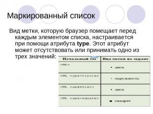 Маркированный список Вид метки, которую браузер помещает перед каждым элементом