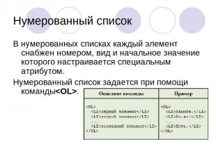 Нумерованный список В нумерованных списках каждый элемент снабжен номером, вид и