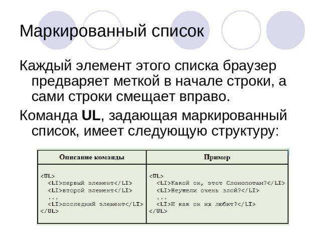 Маркированный список Каждый элемент этого списка браузер предваряет меткой в начале строки, а сами строки смещает вправо. Команда UL, задающая маркированный список, имеет следующую структуру: