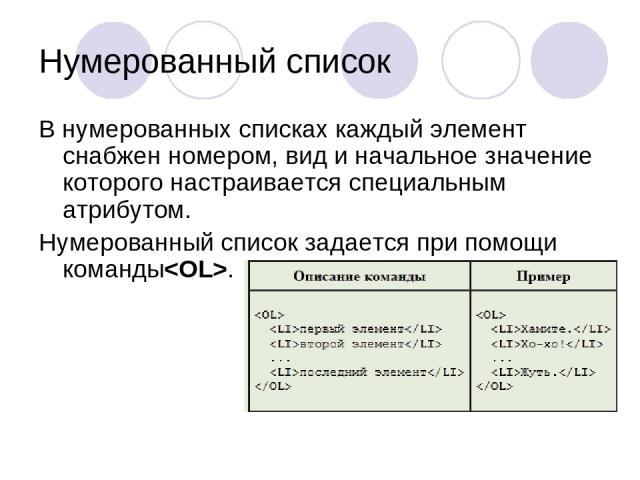Нумерованный список В нумерованных списках каждый элемент снабжен номером, вид и начальное значение которого настраивается специальным атрибутом. Нумерованный список задается при помощи команды.