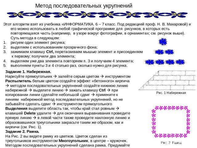 Метод последовательных укрупнений Этот алгоритм взят из учебника «ИНФОРМАТИКА. 6 – 7 класс. Под редакцией проф. Н. В. Макаровой) и его можно использовать в любой графической программе для рисунков, в которых есть повторяющаяся часть (например, в узо…