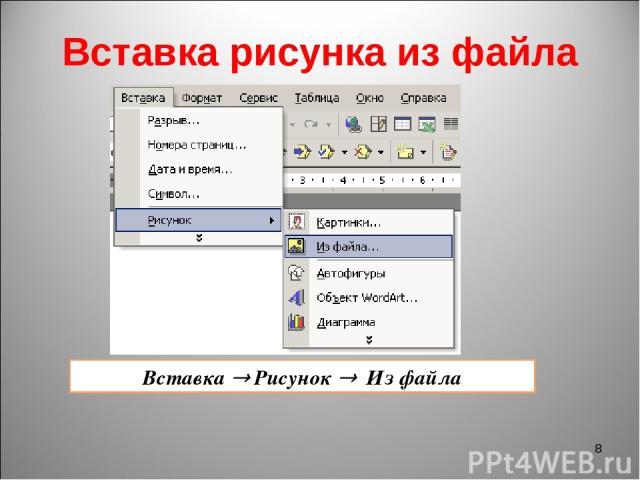 Вставка рисунка из файла * Вставка Рисунок Из файла