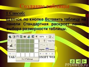 Создание таблицы 1 Способ: Щелчок по кнопке Вставить таблицу на панели Стандартн