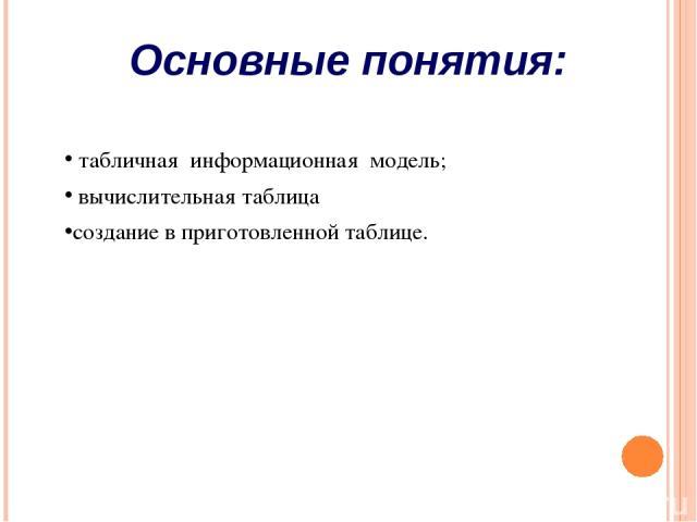 Основные понятия: табличная информационная модель; вычислительная таблица создание в приготовленной таблице.