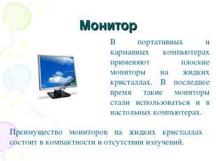 Монитор В портативных и карманных компьютерах применяют плоские мониторы на жидк
