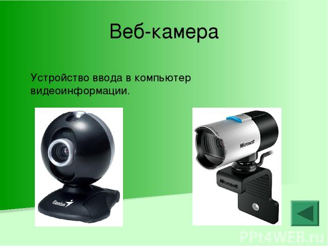 Веб-камера Устройство ввода в компьютер видеоинформации.