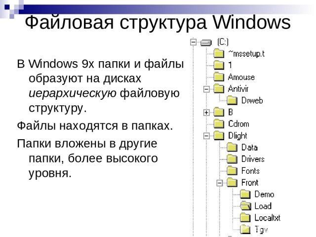 Файловая структура Windows В Windows 9х папки и файлы образуют на дисках иерархическую файловую структуру. Файлы находятся в папках. Папки вложены в другие папки, более высокого уровня.