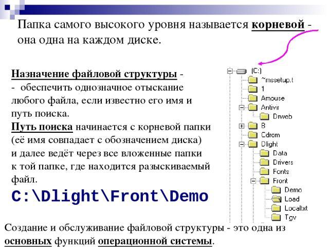 Папка самого высокого уровня называется корневой - она одна на каждом диске. Назначение файловой структуры - - обеспечить однозначное отыскание любого файла, если известно его имя и путь поиска. Путь поиска начинается с корневой папки (её имя совпад…