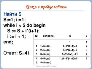 Цикл с предусловием Информатика и ИКТ. 9 класс Найти S S:=1; i:=1; while i < 5 d