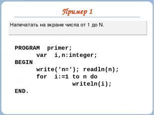 Пример 1 Напечатать на экране числа от 1 до N. PROGRAM primer; var i,n:integer;