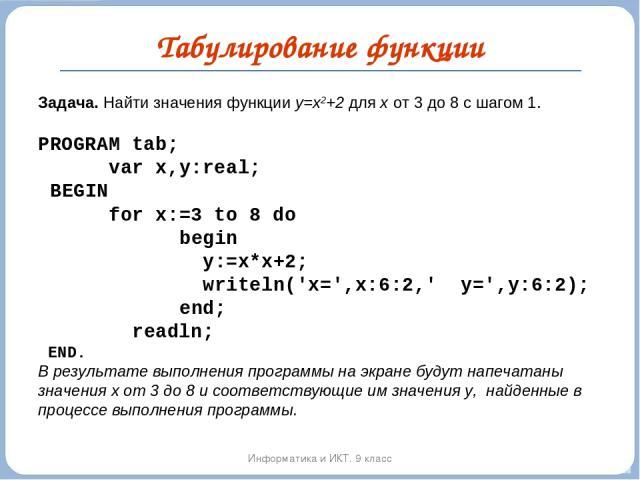 Табулирование функции Информатика и ИКТ. 9 класс Задача. Найти значения функции y=x2+2 для х от 3 до 8 с шагом 1.  PROGRAM tab; var x,y:real; BEGIN for x:=3 to 8 do begin y:=x*x+2; writeln('x=',x:6:2,' y=',y:6:2); end; readln; END. В результате вып…