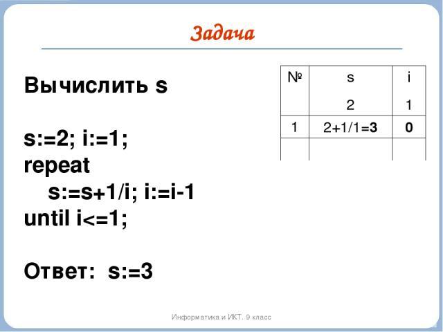 Задача Информатика и ИКТ. 9 класс Вычислить s s:=2; i:=1; repeat s:=s+1/i; i:=i-1 until i