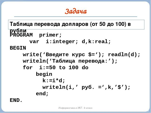 Задача Информатика и ИКТ. 9 класс PROGRAM primer; var i:integer; d,k:real; BEGIN write('Введите курс $='); readln(d); writeln('Таблица перевода:'); for i:=50 to 100 do begin k:=i*d; writeln(i,' руб. =',k,'$'); end; END. Таблица перевода долларов (от…
