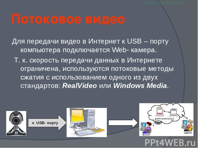 к USB- порту Потоковое видео Для передачи видео в Интернет к USB – порту компьютера подключается Web- камера. Т. к. скорость передачи данных в Интернете ограничена, используются потоковые методы сжатия с использованием одного из двух стандартов: Rea…