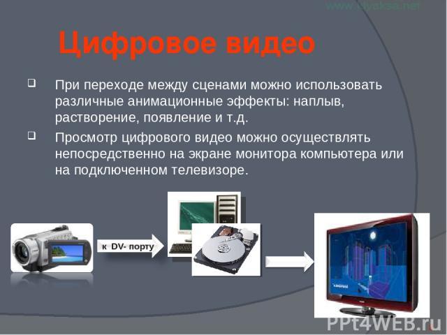 Цифровое видео При переходе между сценами можно использовать различные анимационные эффекты: наплыв, растворение, появление и т.д. Просмотр цифрового видео можно осуществлять непосредственно на экране монитора компьютера или на подключенном телевизоре. *
