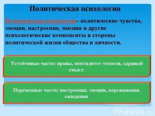 Политическая психология Политическая психология– политические чувства, эмоции, н