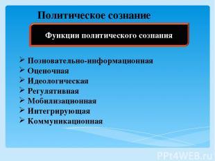 Политическое сознание Позновательно-информационная Оценочная Идеологическая Регу